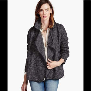 Lucky Brand Drapy Front Tweed Wool Jacket XS